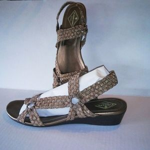 Shoes - VGUC ST JOHNS BAY METALIC WEDGE SANDALS